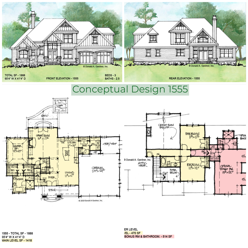 Overview of conceptual house plan 1555.