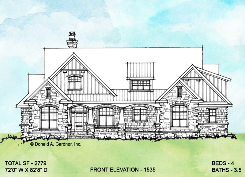 Front exterior of conceptual house plan 1535