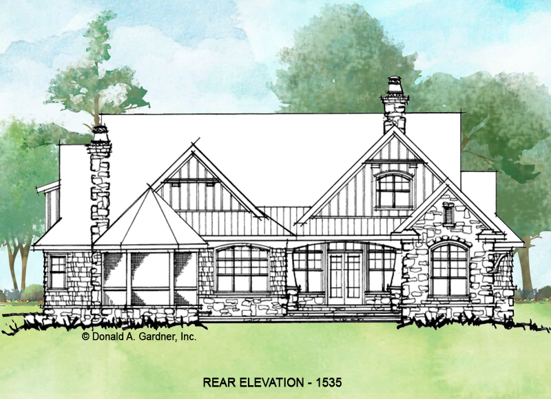 Rear exterior of conceptual house plan 1535