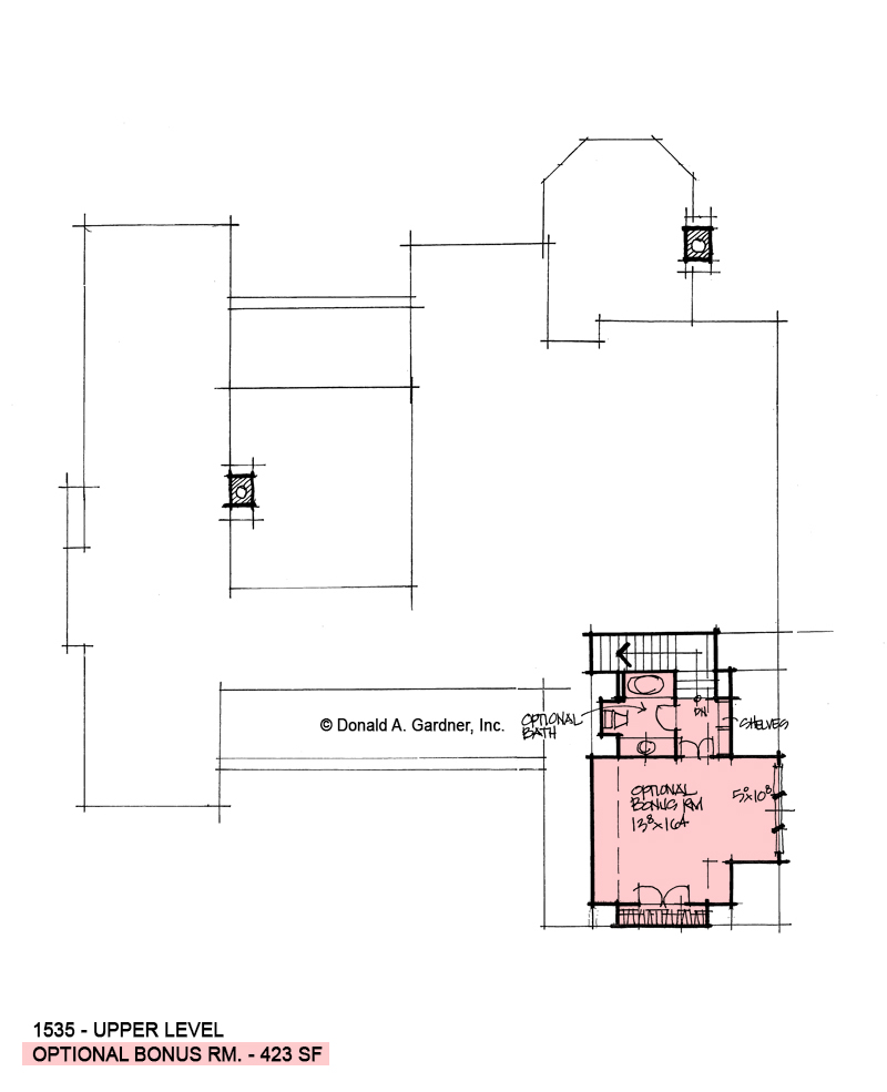 Bonus room of conceptual house plan 1535