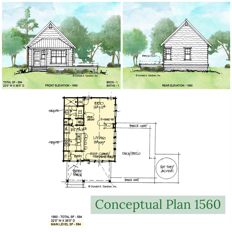 Overview of conceptual house plan 1560