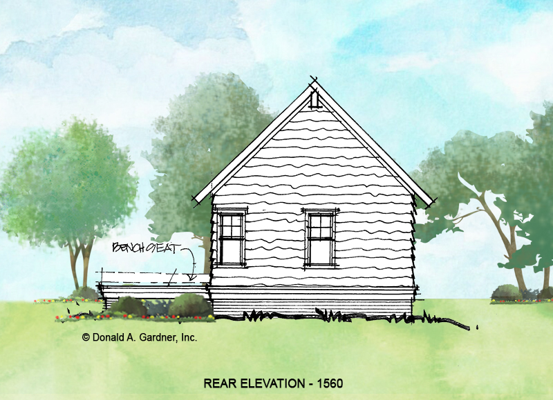 Rear elevation of conceptual house plan 1560