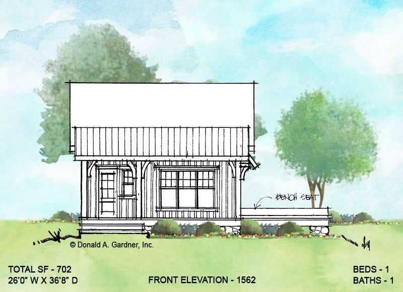 Front elevation of conceptual house plan 1562