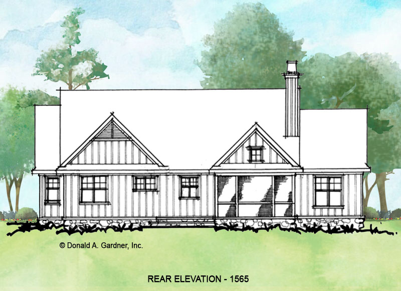 Rear elevation of conceptual house plan 1565