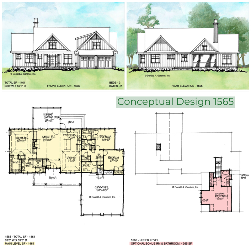 Overview of conceptual house plan 1565.