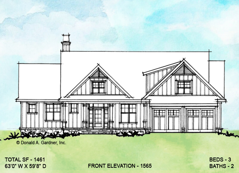 Front elevation of conceptual house plan 1565
