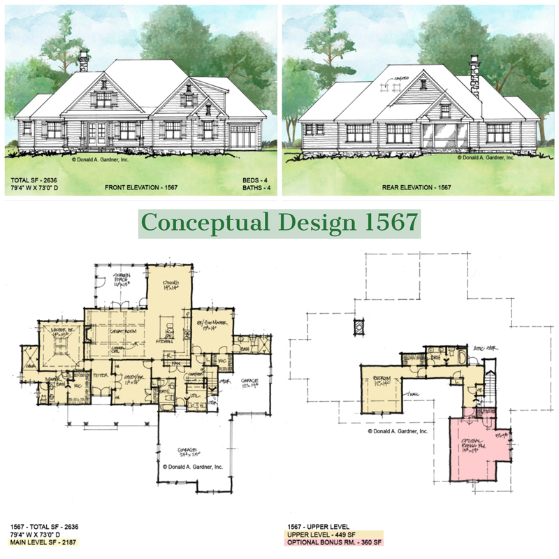 Overview of conceptual house plan 1567