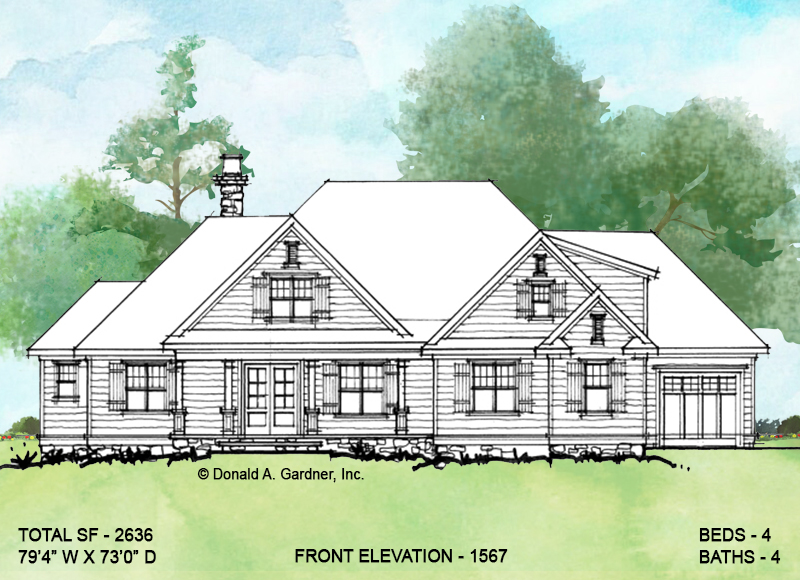 Front exterior of conceptual house plan 1567