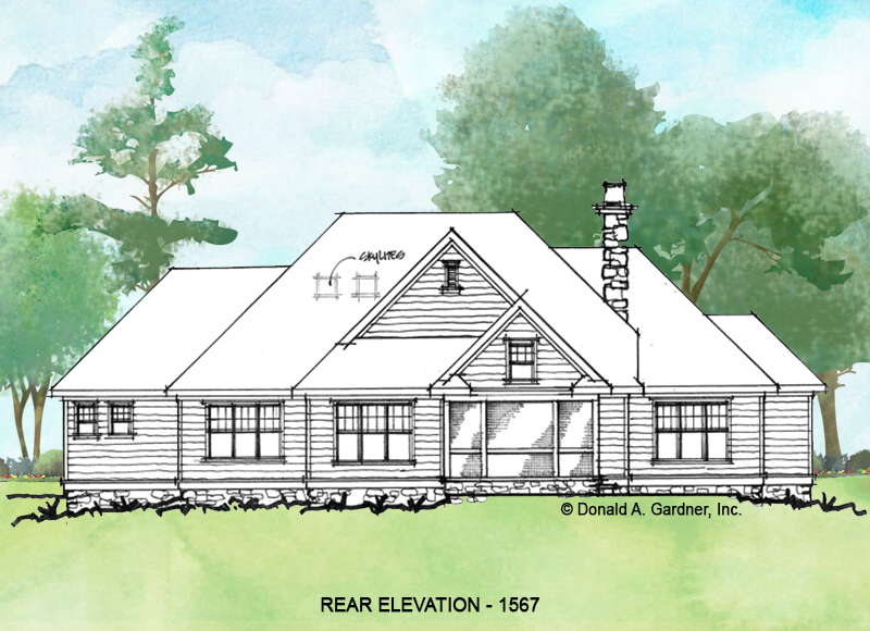 Rear exterior of conceptual house plan 1567
