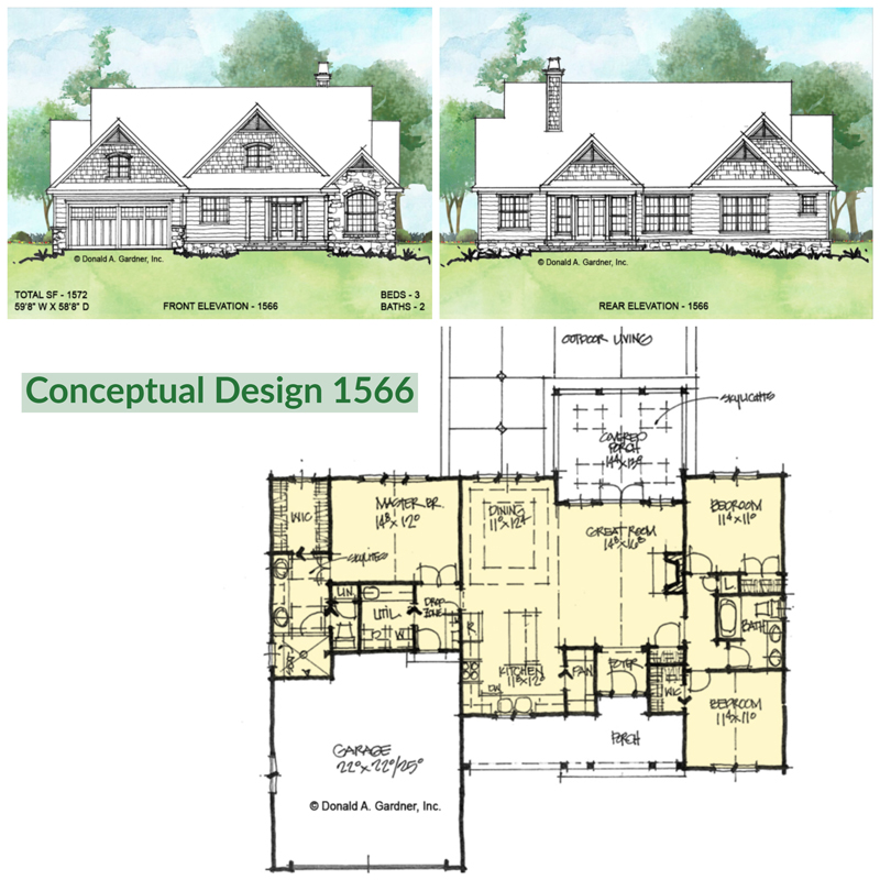 Overview of conceptual house plan 1566.