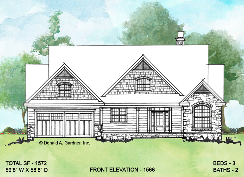 Front elevation of conceptual house plan 1566.