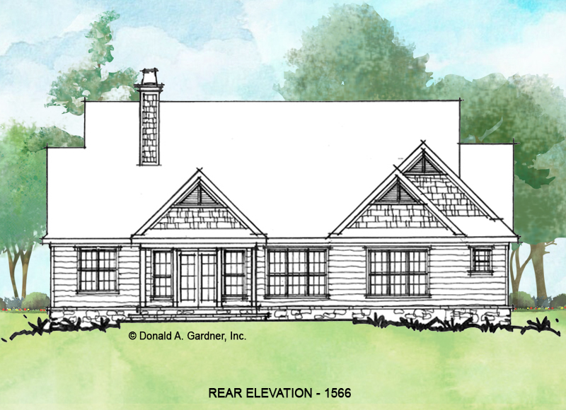 Rear elevation of conceptual house plan 1566.