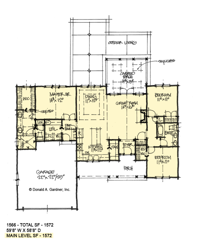 First floor of conceptual house plan 1566.