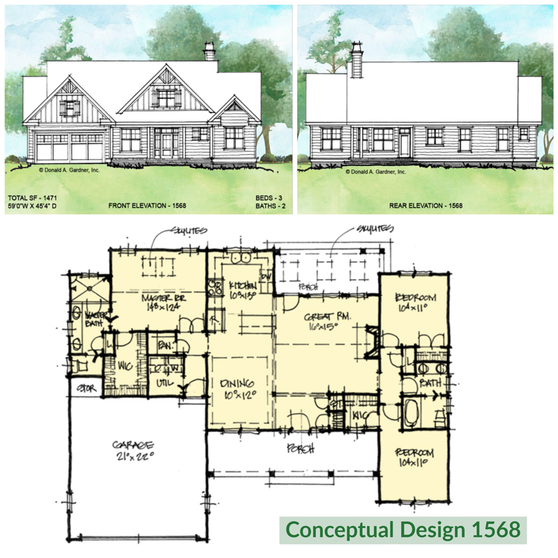 Overview of conceptual house plan 1568.