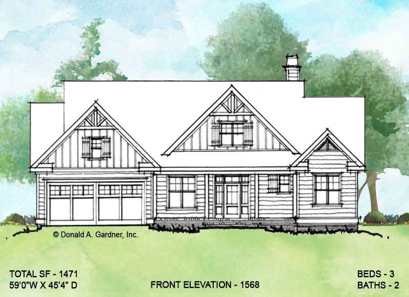 Front elevation of conceptual house plan 1568.