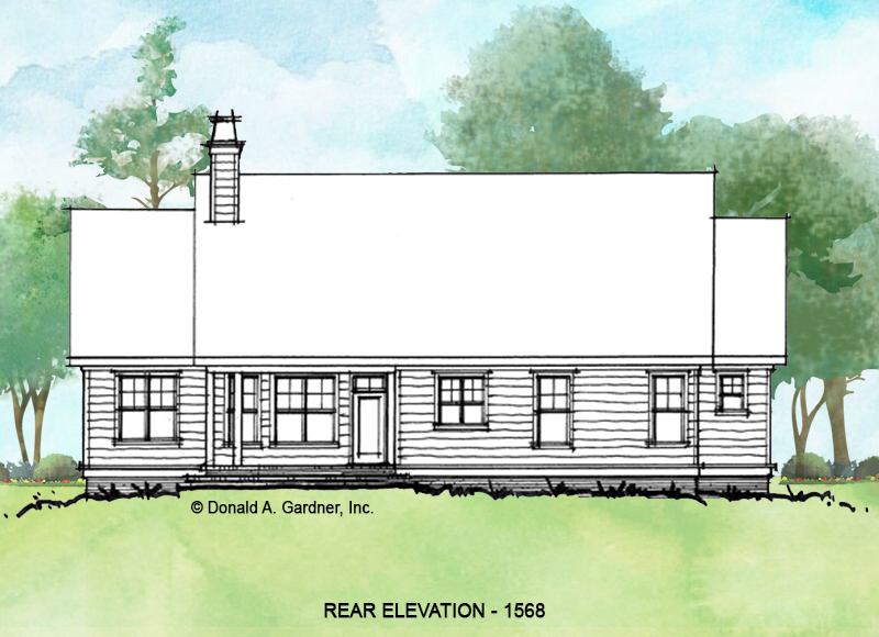 Rear elevation of conceptual house plan 1568.
