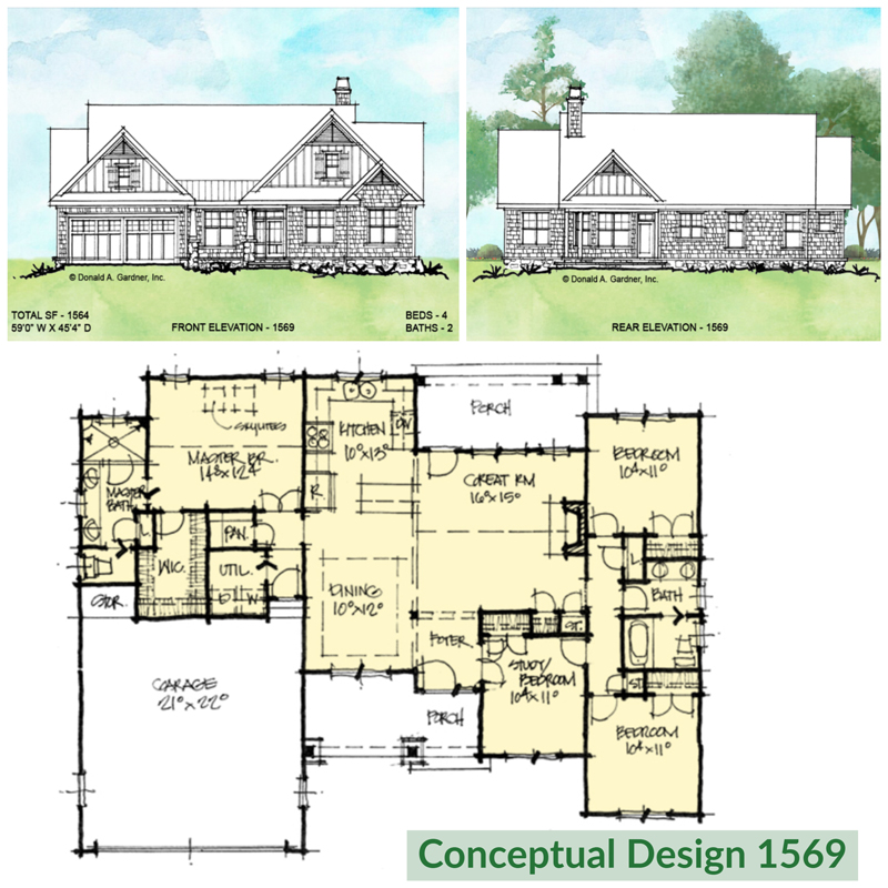 Overview of conceptual house plan 1569.
