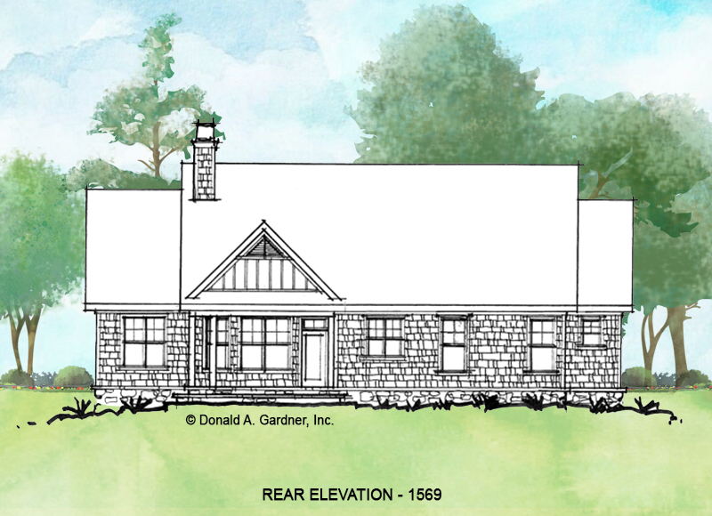 Rear elevation of conceptual home plan 1569.