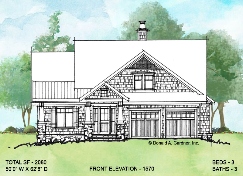 Front exterior of conceptual house plan 1570.