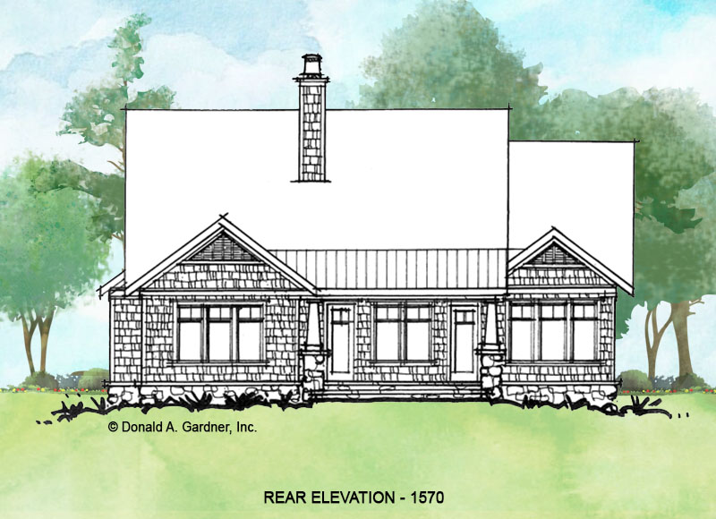 Rear elevation of conceptual house plan 1570.