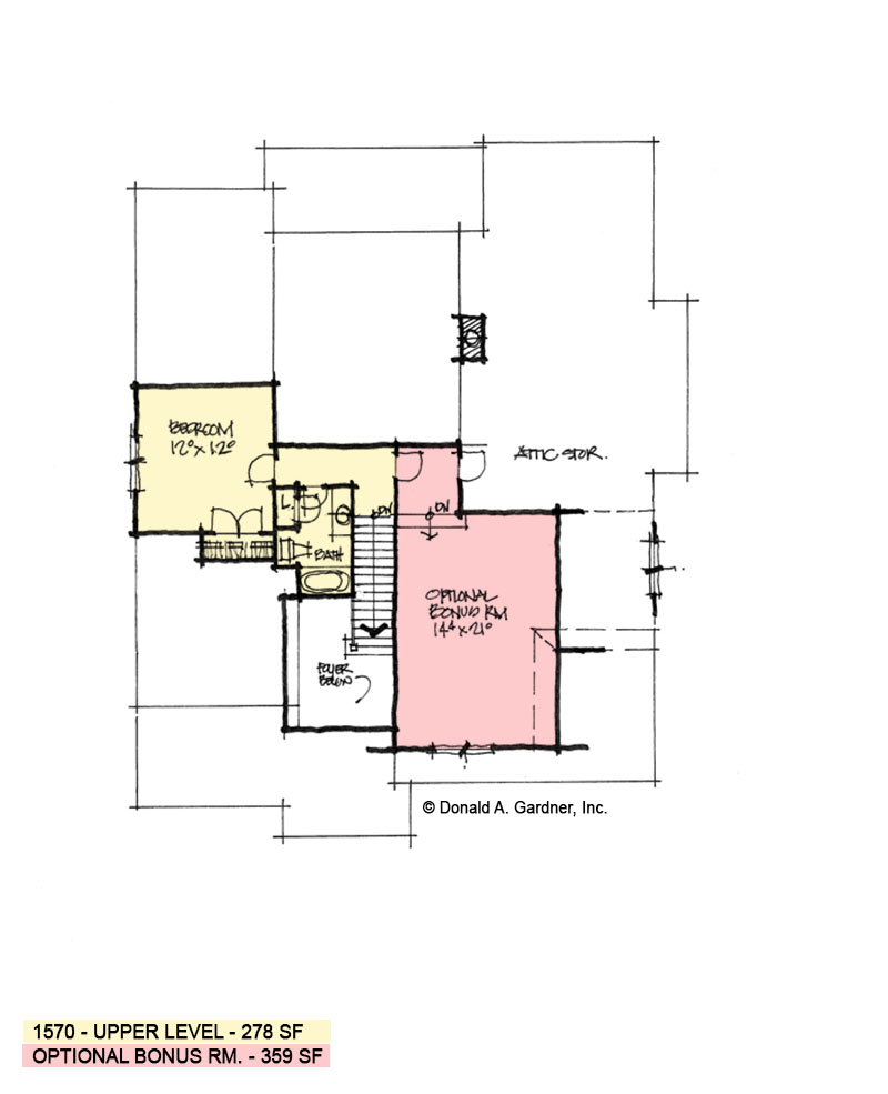 Second floor of conceptual house plan 1570.