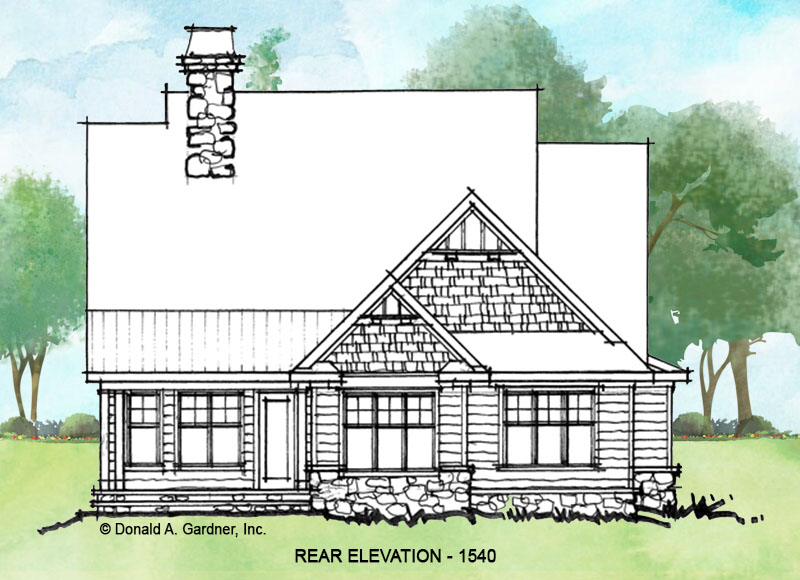 Rear elevation of conceptual house plan 1540.