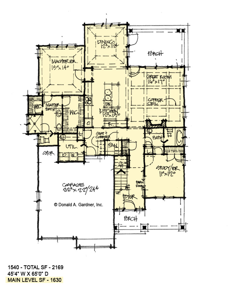 First floor of conceptual house plan 1540.