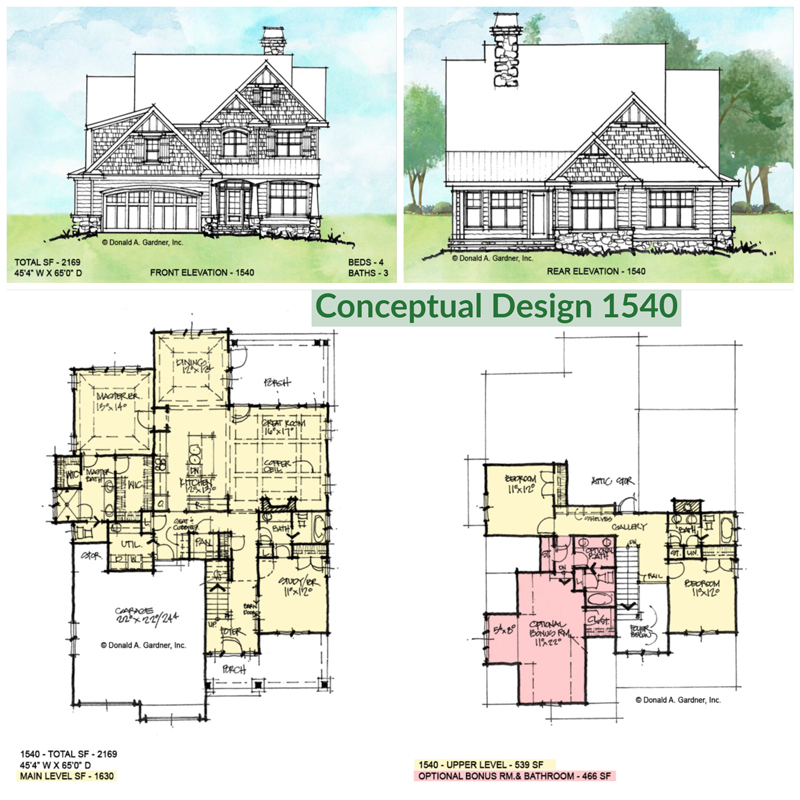 Overview of conceptual house plan 1540.