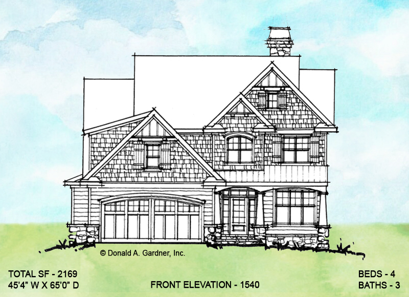 Front elevation of conceptual house plan 1540.