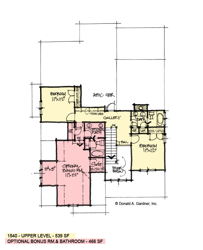Second floor of conceptual house plan 1540.