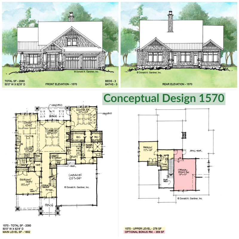 Overview of conceptual home plan 1570.