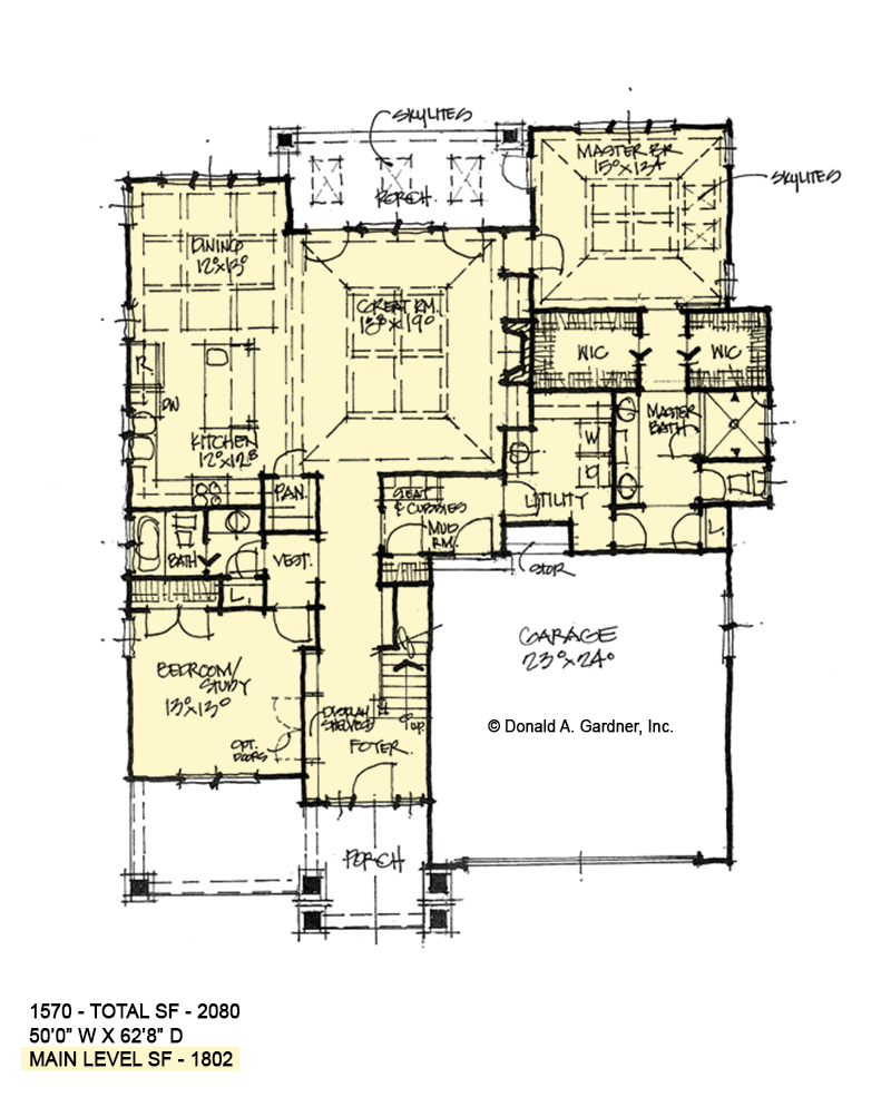 First floor of conceptual home plan 1570.