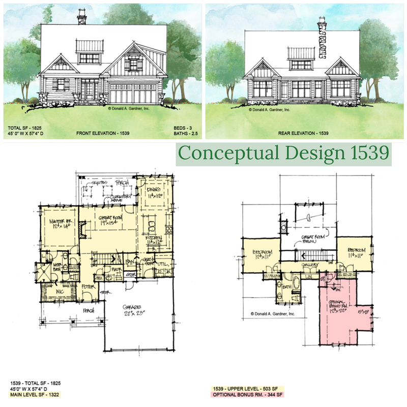 Overview of conceptual house plan 1539.