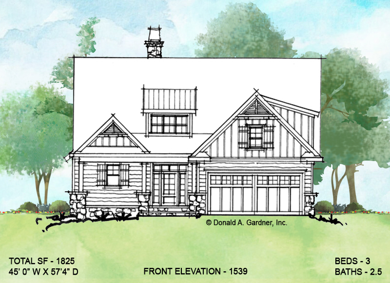 Front elevation of conceptual house plan 1539.
