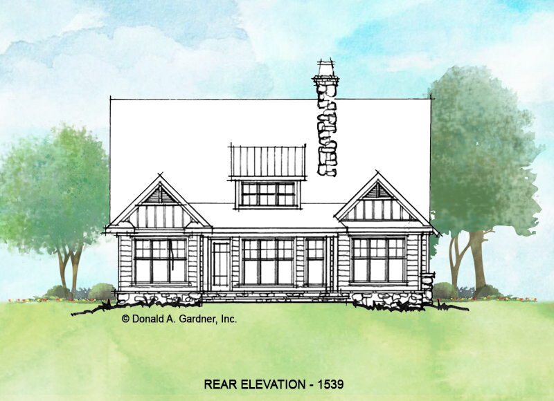 Rear elevation of conceptual house plan 1539.