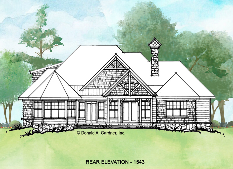Rear elevation of conceptual house plan 1543.