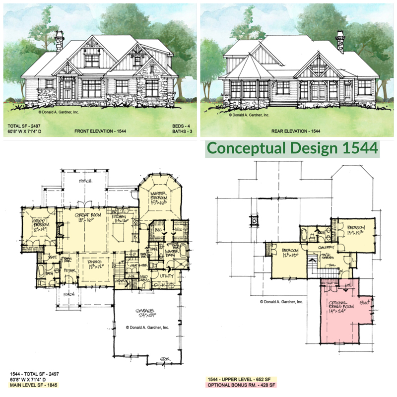 Overview of conceptual house plan 1544.