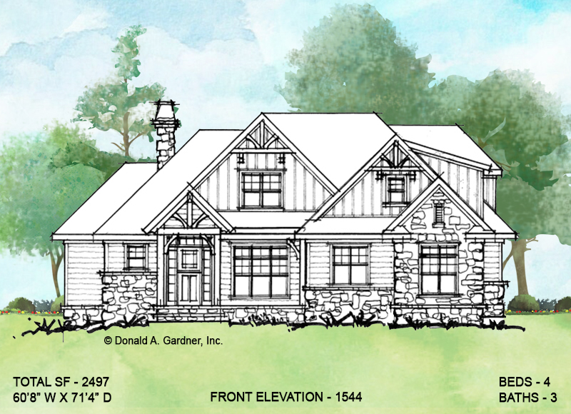 Front elevation of conceptual house plan 1544.