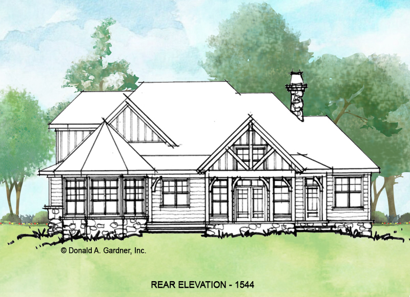 Rear elevation of conceptual house plan 1544.