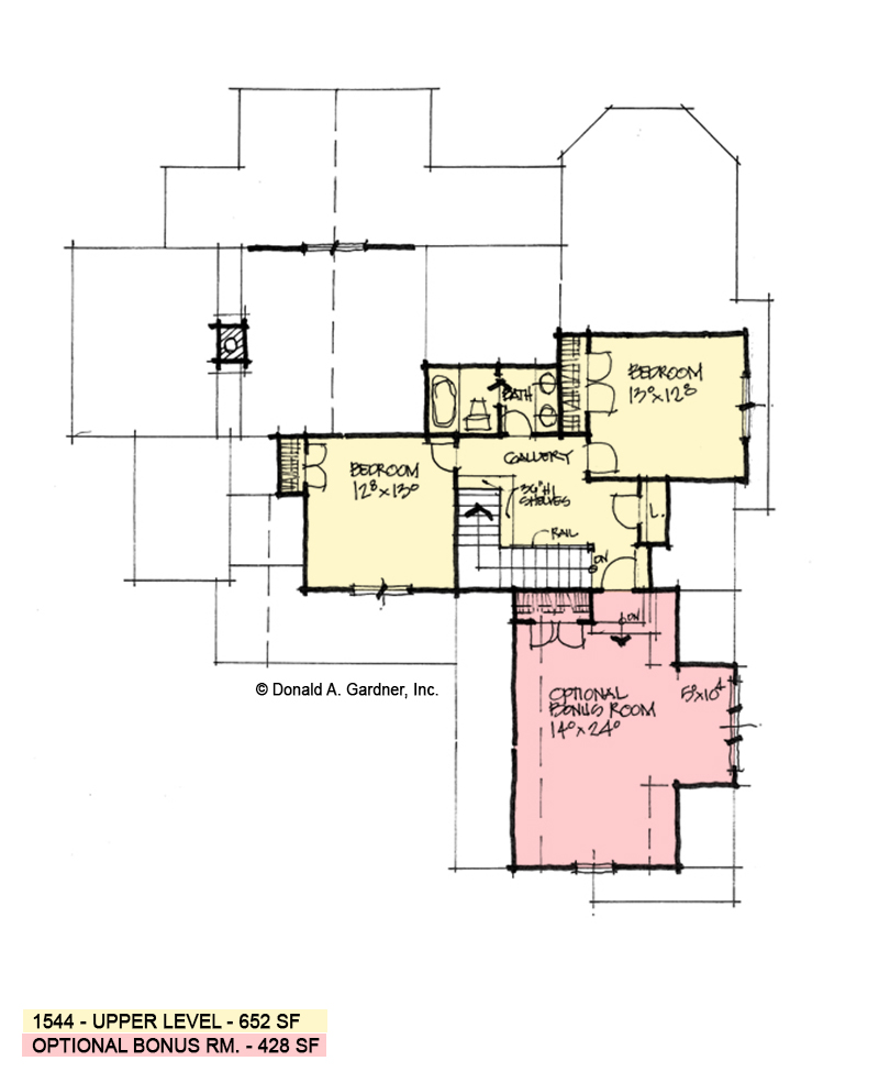 Second floor plan of conceptual house plan 1544.