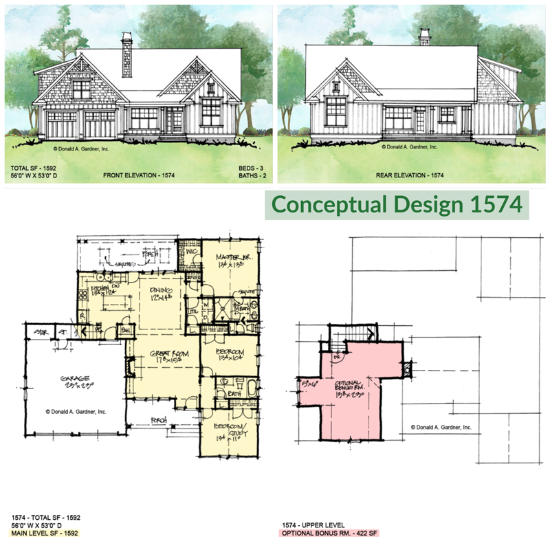 Overview of Conceptual house plan 1574.