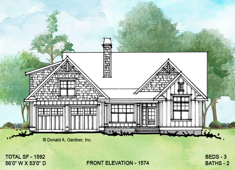 Front elevation of conceptual house plan 1574.
