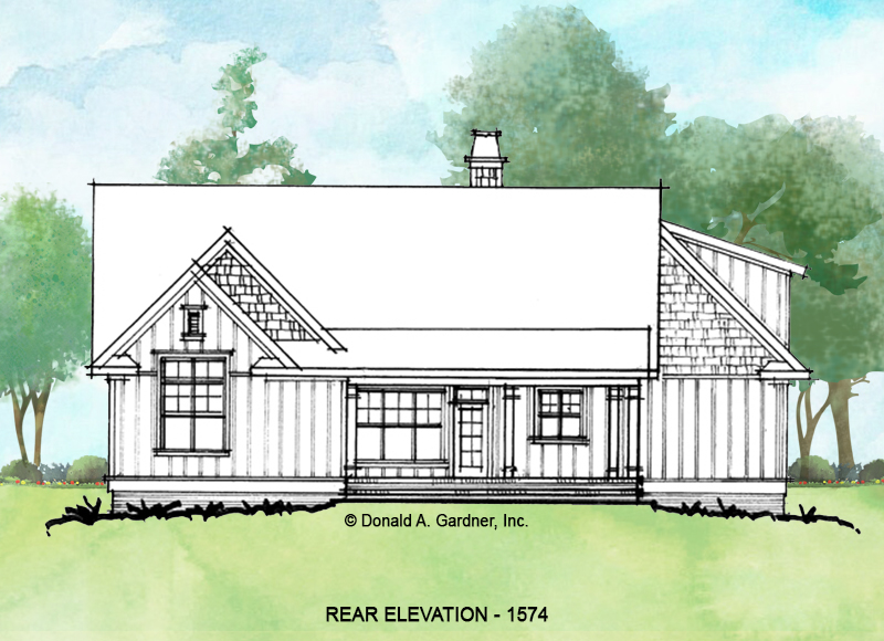 Rear elevation of conceptual house plan 1574.