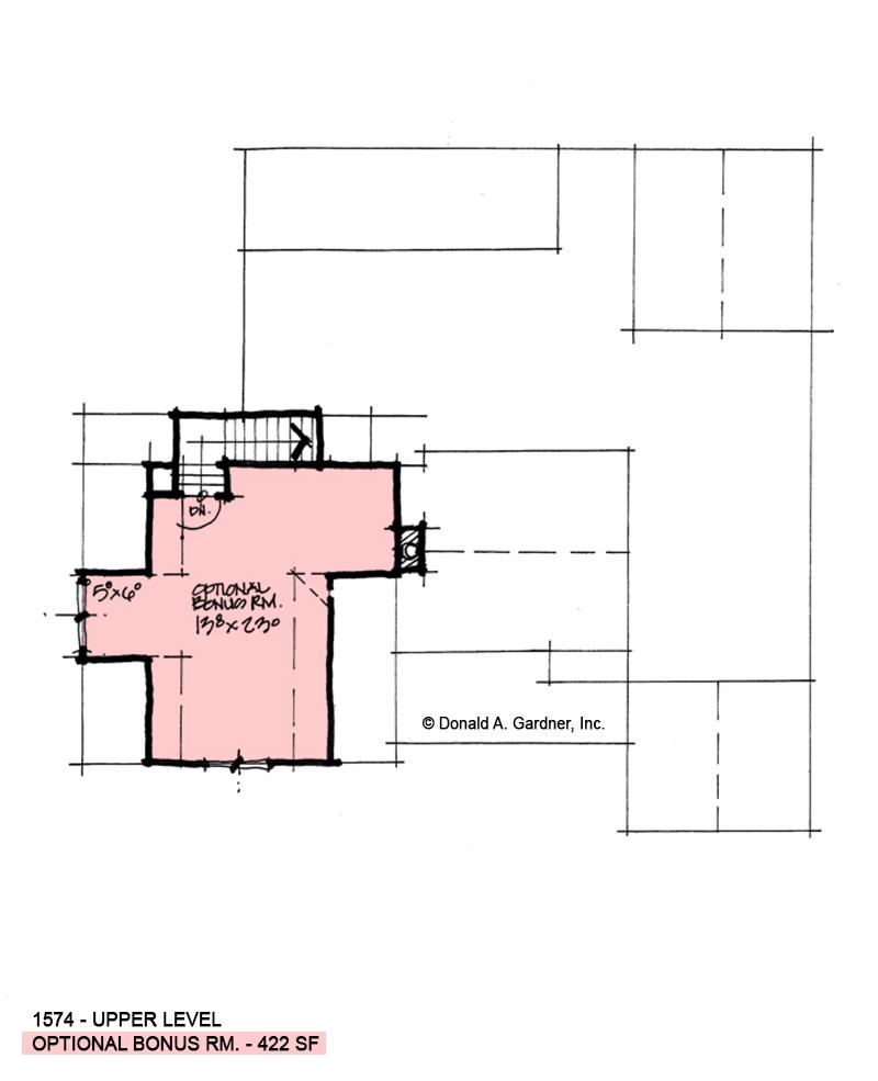 Bonus room of conceptual house plan 1574.