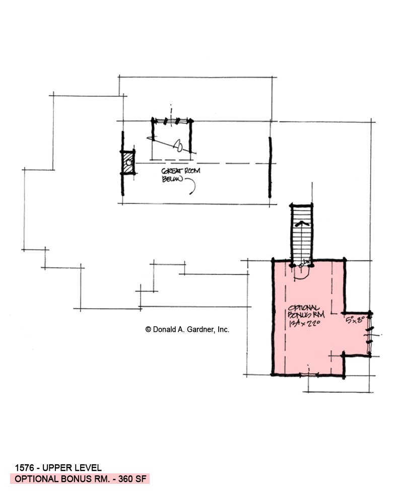 Bonus room of conceptual house plan 1576.
