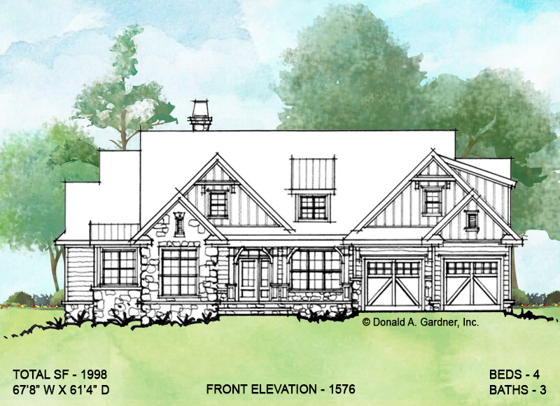 Front elevation of conceptual house plan 1576.