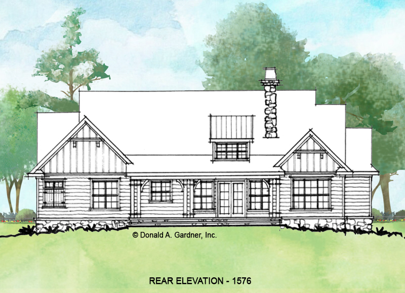 Rear elevation of conceptual house plan 1576.