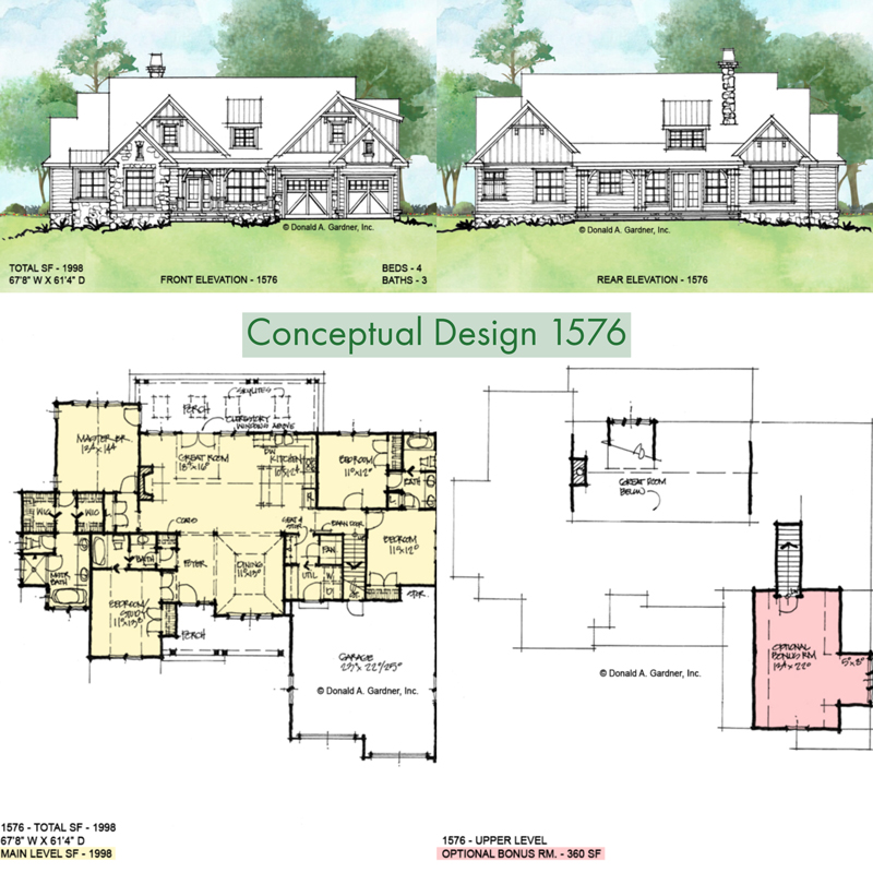 Overview of conceptual house plan 1576.