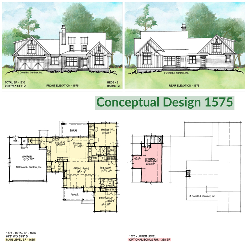 Overview of conceptual house plan 1575.