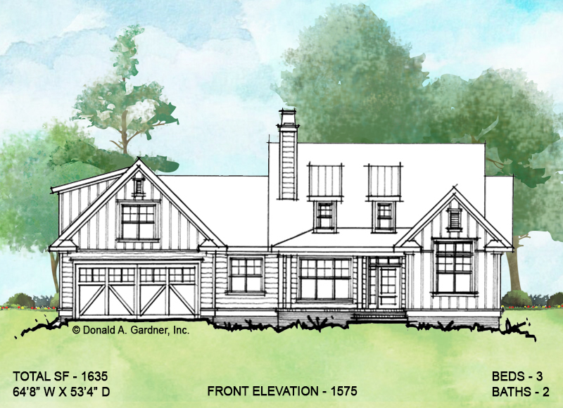 Front elevation of conceptual house plan 1575.